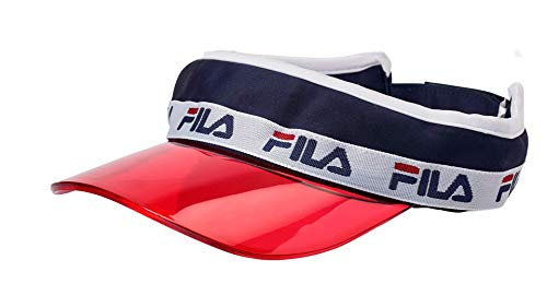 Fila Unisex Velcro Strap Adjustable Sun Visor Black Navy Red