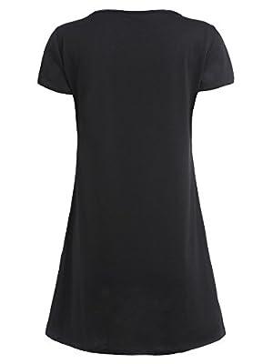 ROMWE Women's Short Sleeve Dress Casual Summer Loose T-Shirt Mini Dress