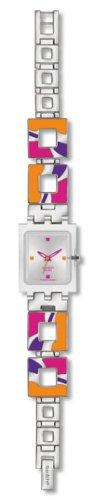 Swatch Originals Square Hot Batik Orange Silver Dial Women's watch #SUBK146G