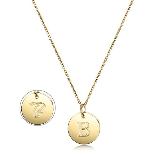 - JINBAOYING Initial Necklace, 14K Gold-Plated Letter Necklace Round Disc Double Side Engraved Hammered Name Necklace with Adjustable Personalized Alphabet Letter Pendant