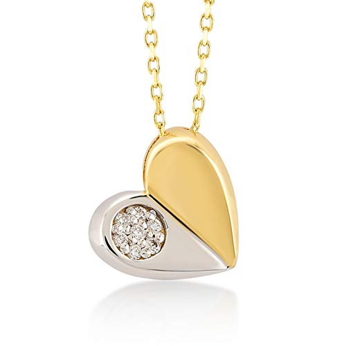 (Gelin 14k Two Tone Solid Gold Puzzle Broken Heart with 0,02 ct Diamond Pendant Chain Necklace for Women 18 Inch )