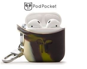 Compatible with Apple Airpod KEYCHAIN Carrying Case By PodPocket |Best Reviewed PREMIUM Silicone & Protective Case Cover/Skin| Slides Easily into Pocket and Has Open Bottom for Charging -(Camo) by PodPocket
