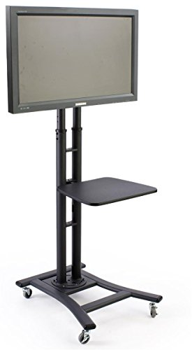 mobile tv stand for 37 to 70 inch flat screen monitor height adjustable shelf included black. Black Bedroom Furniture Sets. Home Design Ideas