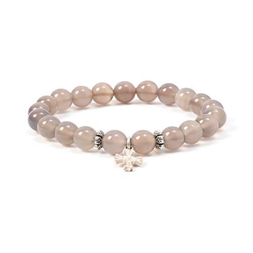 Handmade Natural Lavender Stone Beaded Stretch Charm Bracelet Gilding Moon Pendant for ()