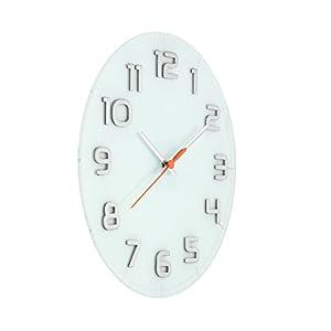 Nextime Reloj de Pared Classy Large, Muy silencioso, en Cristal, Blanco, Redondo, ø 50 cm 2