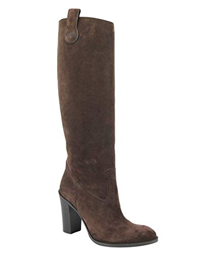 Gucci Women's Brown Leather/Suede Script Logo Tall Knee Boots 317032 2012 (38 G / 8 US) ()
