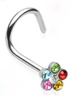 18g Surgical Steel Nose Ring Screw Body Jewelry Piercing with Rainbow Gem Flower 18 Gauge 7Z ACC Body Jewelry™