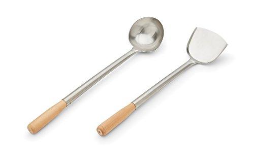 (Fox Run 48763 Spatula & Ladle Wok Tool Set, 3.25 x 4.25 x 19.25 inches, Brown)