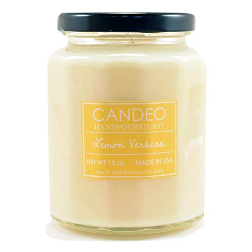 Lemon Verbena, Handpoured Soy Candle Jar, Made in The USA, 12 oz Jar - Lemon Candle Verbena