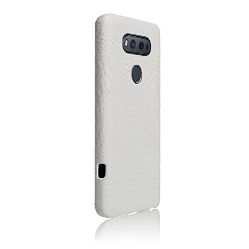 YHUISEN LG V20 caso, patrón de piel de cocodrilo clásico de lujo [ultra delgado] cuero de la PU antirayaduras PC cubierta protectora de la caja dura para LG V20 ( Color : Light Green ) White