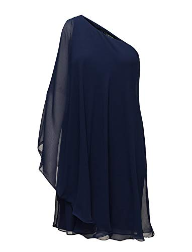Georgette Dress Shoulder One - Ralph Lauren Lauren Womens Georgette One-Shoulder Shift Dress Indigo Blue 14