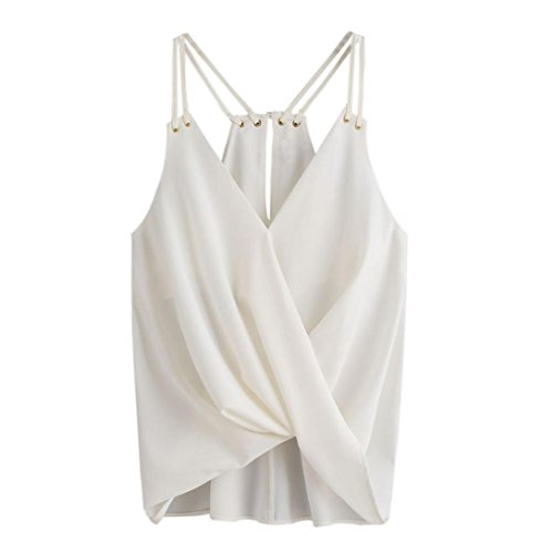 Silk Print Vest (GREFER Women Sleeveless Crop Top Vest Chiffon Cami Tank Shirt Blouse (S, White))