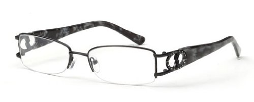 Womens Half Rimmed Circle Crystal Studded Prescription Glasses in Gunmetal 51-18-135