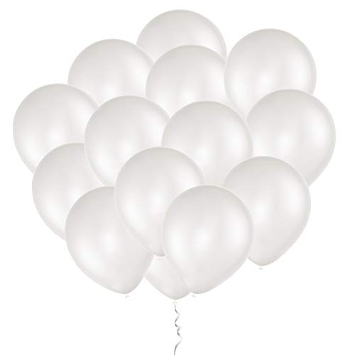 Eshanmu 100pc White Pearlized Latex Balloons 12 inch - Material Pearlescent