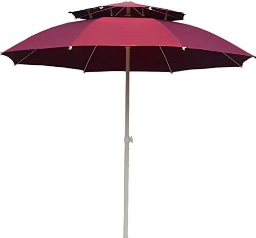 屋外パラソル/ガーデンパラソル 裏庭/プールサイド/デッキ用ダブルトップパティオパラソル、クランク付き屋外テーブル市場傘、8リブ、防水UV保護-赤 (Color : Without Tilt)