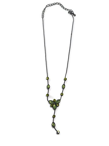 - Retro Green Crystal Flower Necklace Pendant Jewelry Vin...