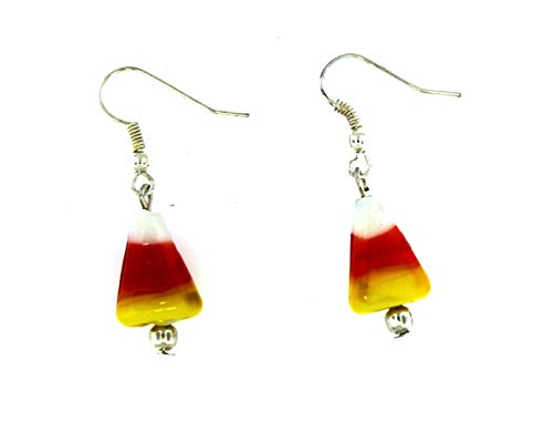Candy Corn Glass Lampwork Dangle Earrings 1.75