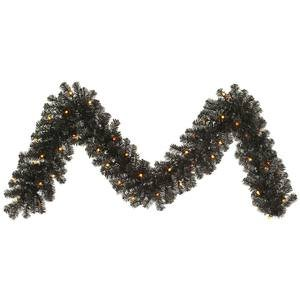 Vickerman Pre-Lit Pine Garland with 50 Orange G12 Berry LED Lights, 9-Feet, Black by Vickerman