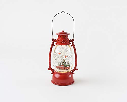 Swirly Glitter Christmas Lantern w/Red Truck, 9.75