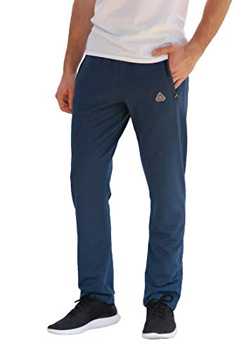 SCR Men's Workout Activewear Pants Athletic Sweatpants Long Inseam Black Grey Blue Navy 30L 32L 34L 36L 38L (Medium x 32L (Straight), Steel Blue)