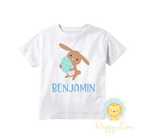 Happy Lion Clothing - Personalized toddler boys easter bunny T-shirt
