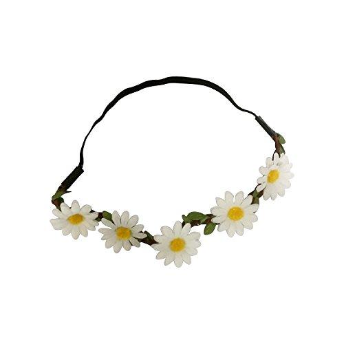 Art Attack White Daisy Dasies Sun Flower Crown Boho Floral Bohemian Leaf Braided Stretch Fashion Festival Hair Headband Head - Where Ray Made Bands Are