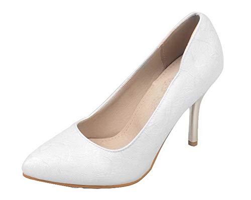 Donna Alto GMMDB006857 AgooLar Ballet Tacco Puro Luccichio Tirare Bianco Flats ZawdqA