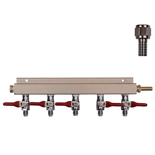 (5 Way Co2 Air Manifold, MFL Valves, (5) Swivel Nuts, (5) 5/16