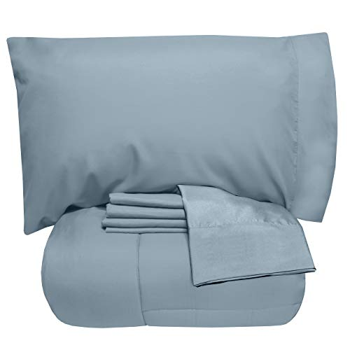 Sweet Home Collection 5 Piece Comforter Set Bag Solid Color All Season Soft Down Alternative Blanket & Luxurious Microfiber Bed Sheets, Twin, Misty Blue (Sweet Quilt Home)