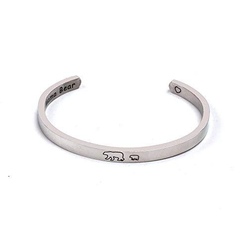 Anlive Mama Bear Bracelet with 1 2 3 Cubs Adjustable Bangle Bracelet Mom Gifts (1 cub Cuff) (Adjustable Bangle)