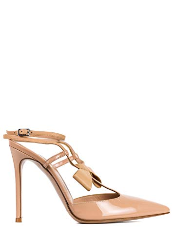 17548993b6405 Gianvito Rossi Women's Nude Patent Leather Cross Bow Pumps 37.5/ US7.5~RTL