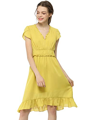 Allegra K Women's V Neck Petal Short Sleeves Pleated Waist Elegant Chiffon A-Line Midi Dress XL Yellow-Empired Waist