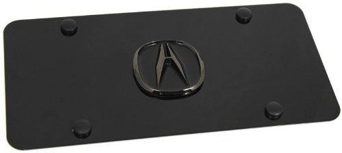 DanteGTS Black Pearl Acura Logo Black Front License Plate Frame Stainless Steel 3D Metal