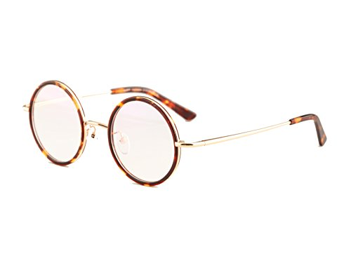 Agstum Vintage Retro Small Round Prescription Optical Eyeglass Frame 43mm (Amber+Light gold, 43mm)