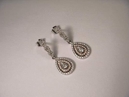 - Lovely 14K White Two-Tone Gold Diamond Tear Drop Dangle Earrings