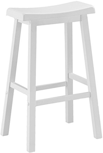 Monarch Specialties White Saddle Seat Barstools (2-Piece per Carton), 29-Inch