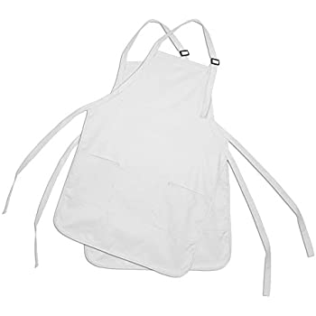 Apron Commercial Restaurant Home Bib Spun Poly Cotton Kitchen Aprons (2 Pockets) in White 2 Pack