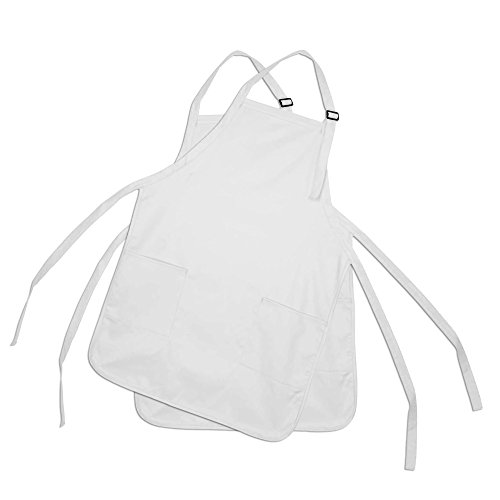 Apron Commercial Restaurant Home Bib Spun Poly Cotton Kitchen Aprons (2 Pockets) in White 2 Pack (Apron Promotional)