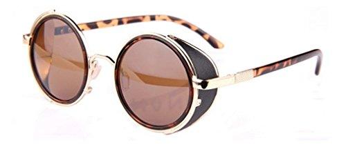 Lunettes Style Vintage Leopard Rondes Cyber Steampunk de Unisexe Goggles Shades Brun Nouveau Soleil 185xq