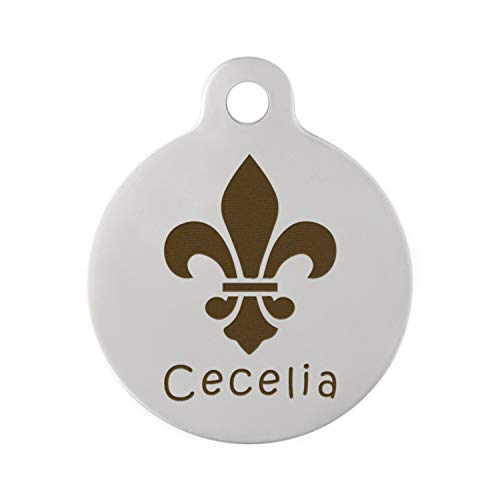 dogIDS Signature Engraved Fleur De Lis Dog ID Tag - Stainless Steel - 1.25 Inch Diameter ()