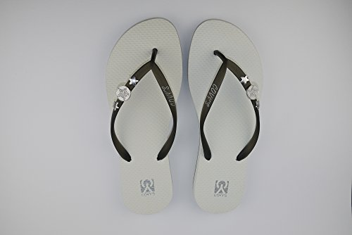 COVYS jandals black/white #5103 women (Zehentrenner, Sandale, DIY, Pins) Black/White