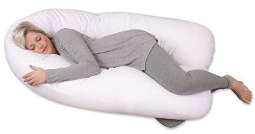 Leachco Back 'N Belly Bliss with 100% Sateen Cotton, 300 Thread Count Zippered Cover in Soothing White