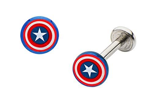 playful piercings Red & Blue Captain America Labret Monroe Lip Tragus Cartilage Ring Licensed Marvel Comics 14g