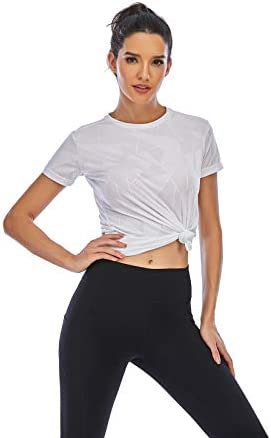 Lianshp Workout Shirts for Women Crewneck Short Sleeve T-Shirts Breathable Mesh Dri Fit Athletic Tops for Women