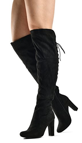 (Zoe Stretch Thigh High Boots - Trendy Comfortable Block Heel - Over The Knee Pullon Sexy Back Lace Up Black 9)