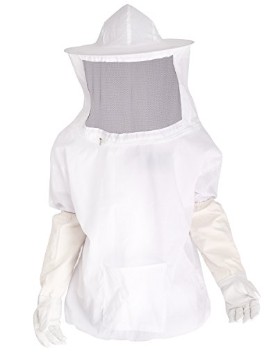 YiZYiF Professional Beekeeping Bee Keeping Pull Over Jacket Fencing Veil Hood Hat Smock Dress Protective Equipment with Zipper for Bee Keepers (Beekeeping Suits with Gloves)