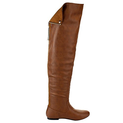 FE61 Women Half Knee Over Cuff Heel Boots Tan Small NATURE Size BREEZE Flat The Snap H54n4Rxq
