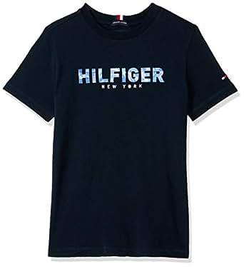 TOMMY HILFIGER Kids Boys 3-7 Pure Organic Cotton Logo T-Shirt, Sky Captain, 4