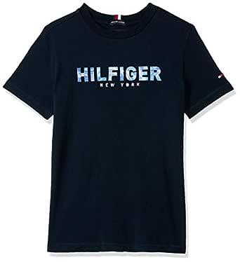 TOMMY HILFIGER Kids Boys 8-16 Pure Organic Cotton Logo T-Shirt, Sky Captain, 12