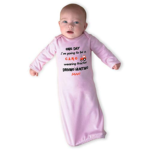 Price comparison product image One Day I'm Going Ti Be A Camo Wearing Tractor Driving Hunting Man Boys-Girls Cotton Newborn Sleeping Gown One Piece - Soft Pink,  Gown Only